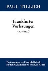 Frankfurter Vorlesungen - (1930-1933)