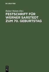 Festschrift für Werner Sarstedt zum 70. Geburtstag