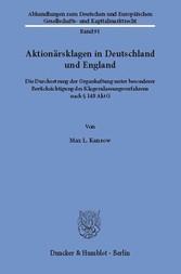 Aktionärsklagen in Deutschland und England. - D...