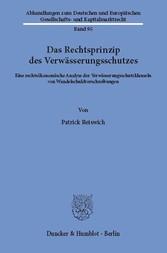 Das Rechtsprinzip des Verwässerungsschutzes. - ...