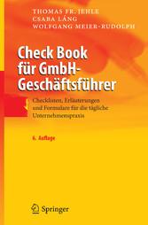 Inhaltsverzeichnis Von Check Book Für Gmbh Geschäftsführer
