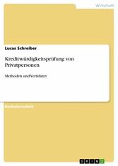 Kreditwürdigkeitsprüfung von Privatpersonen - M...