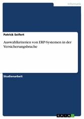Auswahlkriterien von ERP-Systemen in der Versic...