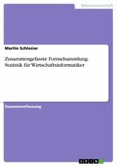 Zusammengefasste Formelsammlung. Statistik für ...
