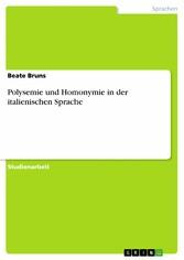 Polysemie und Homonymie in der italienischen Sp...