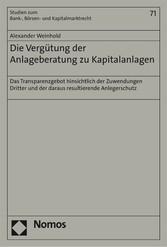 Die Vergütung der Anlageberatung zu Kapitalanla...