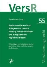 Karlsruher Forum 2014: Anlegerschutz durch Haft...