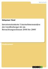 Investororientierte Unternehmensanalyse der Gre...