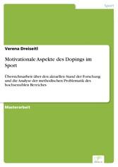 Motivationale Aspekte des Dopings im Sport - Üb...