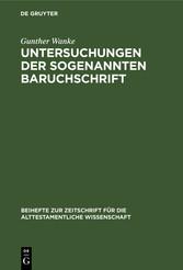 Untersuchungen der sogenannten Baruchschrift