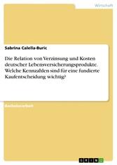 Die Relation von Verzinsung und Kosten deutscher Lebensversicherungsprodukte. Welche Kennzahlen sind für eine fundierte Kaufentscheidung wichtig?