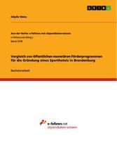 Vergleich von öffentlichen monetären Förderprogrammen für die Gründung eines Sporthotels in Brandenburg