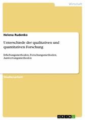 Unterschiede der qualitativen und quantitativen Forschung Erhebungsmethoden, Forschungsmethoden, Auswertungsmethoden