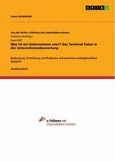 Was ist ein Unternehmen wert? Der Terminal Value in der Unternehmensbewertung Bedeutung, Ermittlung und Probleme anhand eines selbstgewählten Beispiels