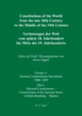 National Constitutions, Constitutions of the German States (Anhalt-Bernburg - Baden). Nationale Verfassungen, Verfassungen der deutschen Staaten (Anhalt-Bernburg - Baden) / Nationa