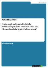 Sozial- und rechtsgeschichtliche Betrachtungen zum 'Weistum über die Allmend und die Vogtei Schauenburg'