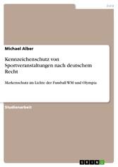 Kennzeichenschutz von Sportveranstaltungen nach deutschem Recht Markenschutz im Lichte der Fussball WM und Olympia