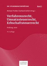 Verfahrensrecht, Umsatzsteuerrecht, Erbschaftsteuerrecht Prüfung 2020
