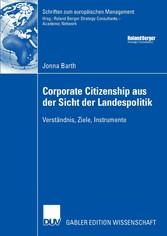 Corporate Citizenship aus der Sicht der Landespolitik Verständnis, Ziele, Instrumente