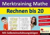 Merktraining Mathe - Rechnen bis 20 Partnerrechnen mit Selbsteinschätzungsbögen